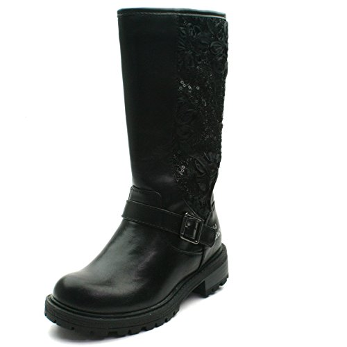 MS057 Miss Sixty Girls High Zipup Boot in Black Lacey Look Taglia 32