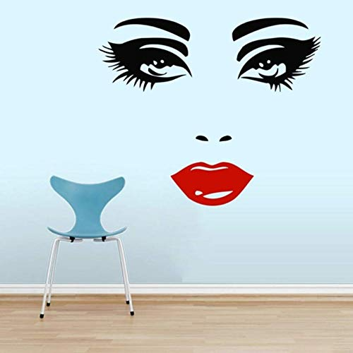 Pbldb Schönes Make-Up Mädchen Große Augen Lippen Kosmetik Friseur Schönheitssalon Wandbilder Tapeten Aufkleber Vinyl Aufkleber Decor45X56 Cm
