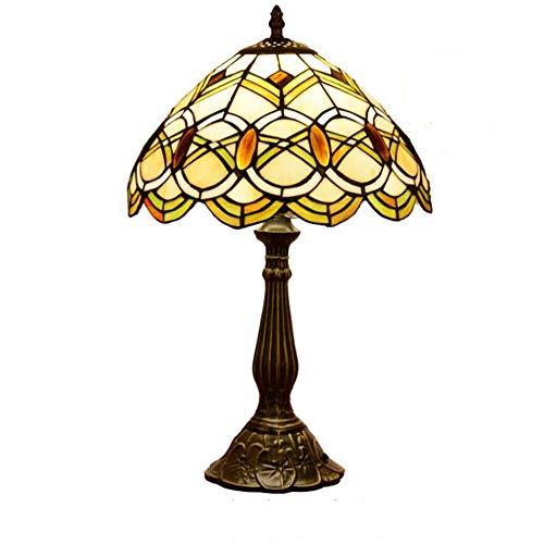 Tiffany-Stil Tischlampe 12 Zoll Perlen Glasmalerei Lampenschirm Aztec Tischlampe europäischen Stil Wohnzimmer Schlafzimmer Nachttischlampe (Aztec Lampe)