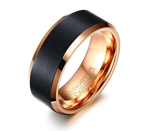 Vnox Herren Wolframcarbid Ehering Ring für Engagement Jubiläum Versprechen Komfort Fit,Black & Rose Gold (Versprechen Der Rose)