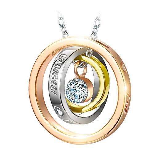 Kami Idea Damen Kette Mama Ich Liebe Dich Gravierte Kreis Halskette mit Anhänger Rosegold Plattiert mit Kristall von Swarovski Geschenke zum Geburtstag Jubiläum Mutter Frauen Sie