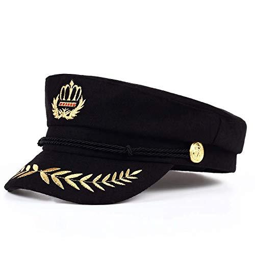 Frauen Kostüm Fallschirmjäger - LMZXH&M Warme Mütze Männer Und Frauen Militäruniformen Barett Kapitän Verstellbare Matrosenmütze Marine Cap Hut, Schwarz