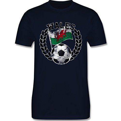 EM 2016 - Frankreich - Wales Flagge & Fußball Vintage - Herren Premium T-Shirt Navy Blau
