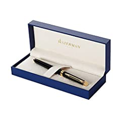 Idea Regalo - Waterman Hemisphere Penna Stilografica Matte Black Gold Trim, Pennino Medio
