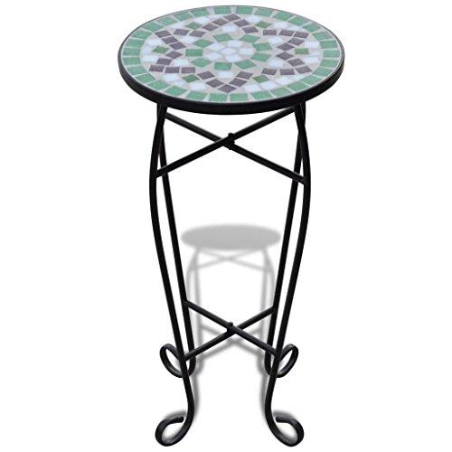 Tidyard Mosaiktisch Mosaik Beistelltisch Bistrotisch Balkontisch mit Eisenrahmen, Rund,30 x 60 cm (Ø x H), Weiß-Grün - 30 Runden Tisch