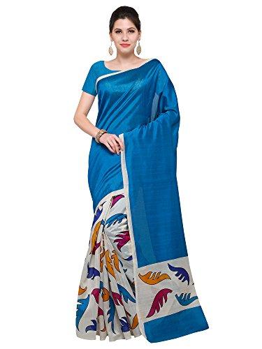 Paroma Art Women\'s Cotton Silk Saree With Blouse Piece (Off-White)