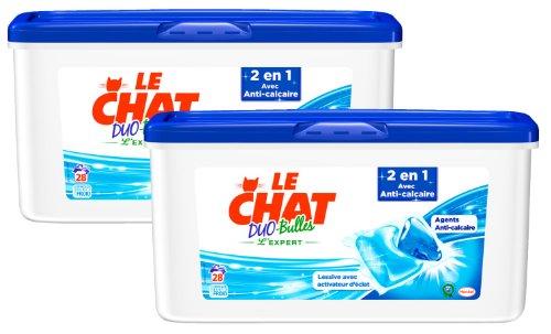 Le Chat L'Expert Duo-bulles 2 en 1 Anti-calcaire Boîte de 28 Capsules/28 Lavages - Lot de 2