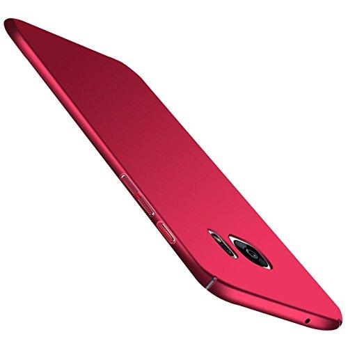 Qissy Carcasa Compatible with Samsung Galaxy S7, Ultra Ligero Suave Sedoso Pintura PC Funda Protectora de teléfono Protective Case Cover para Samsung Galaxy S7 5.1'' (Rojo)