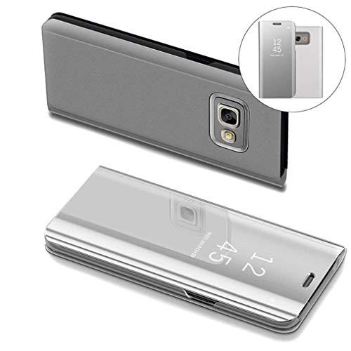 COTDINFOR Samsung J5 Prime Hülle Ledertasche Handyhülle Slim Clear Crystal Spiegel Flip Ständer Etui Hüllen Schutzhüllen für Samsung Galaxy On5 2016 / J5 Prime SM-G570F Mirror PU Silver MX.