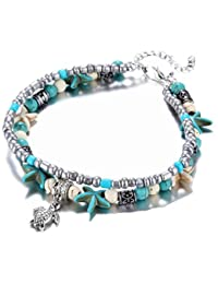 Yellow Chimes Turtle Charm Starfish Beaded Bracelet Cum Anklet for Women and Girls