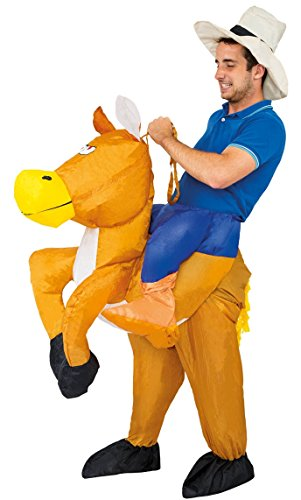 Chaks C4219, Kostüm aufblasbar Cowboy auf Pferd Erwachsene
