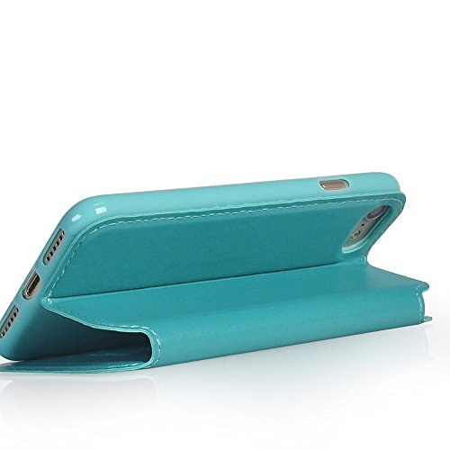 UKDANDANWEI Apple iPhone SE [Rr] Hülle Case - Magnetisch Leder Tasche Flip Case Cover Schutzhülle Etui Hülle Schale mit Fenster Ansicht Für Apple iPhone SE - Schwarz Türkis