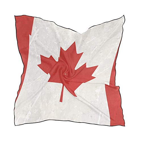 Hipiyoled Womens Canada Flag Silk Feeling Square Scarf Satin Neck Scarves Head Hair Wraps -