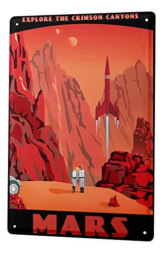 Blechschild Retro Wand Weltall Deko Crimson Canyons Mars Metall Schild 20X30 cm -