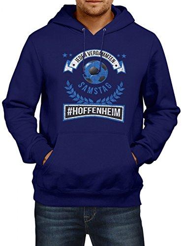 Hoffenheim #1 Premium Hoodie | Fussball | Fan-Trikot | #Jeden-Verdammten-Samstag | Herren | Kapuzenpullover, Farbe:Dunkelblau;Größe:L (Spieltag Shirt)