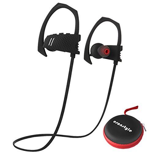 Esonstyle Bluetooth V4.1 Kopfhörer In-Ear-Kopfhörer Sport Ohrhörer mit Mikrofon für Joggen, Fitness, Fahrrad, Kompatibilität mit iPhone, Android, MP3 Und andere Bluetooth-Geräte(Schwarz)
