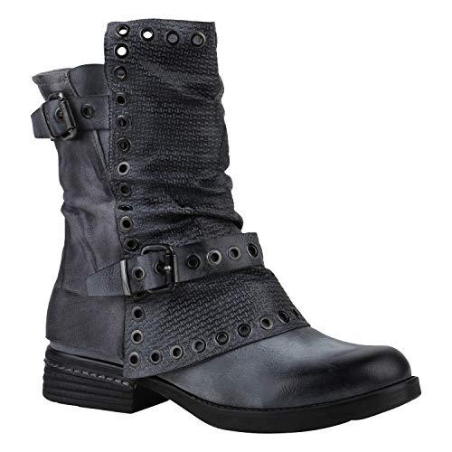 Leicht Gefütterte Damen Stiefel Biker Boots Schnallen Stiefeletten Grau Grey Prints 39 Flandell