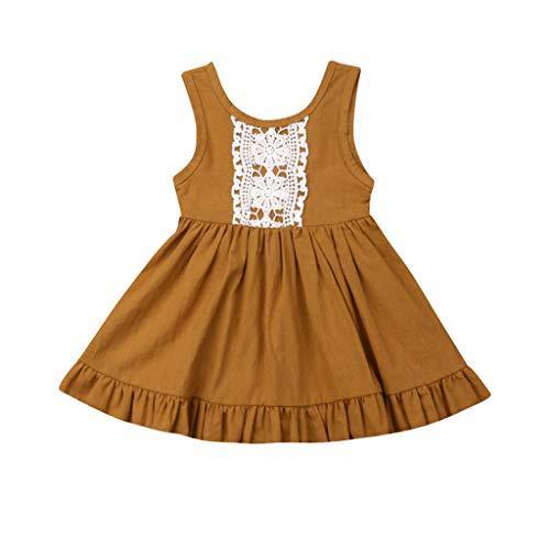 LEXUPE Kleinkind-Baby-Schwester-Mädchen-Sleeveless Weste-Spitze-Prinzessin Dress Backless Dresses(Gelb,120)