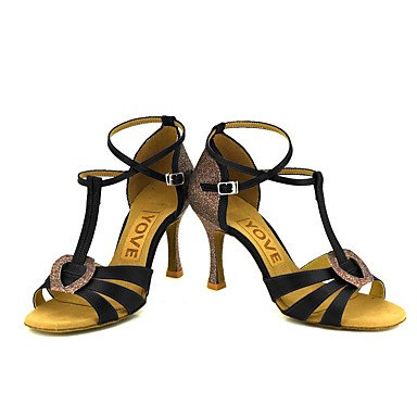 Scarpe da ballo-Personalizzabile-Da donna-Balli latino-americani / Salsa-Tacco su misura-Raso-Nero / Blu / Giallo / Rosa / Viola / Rosso Pink