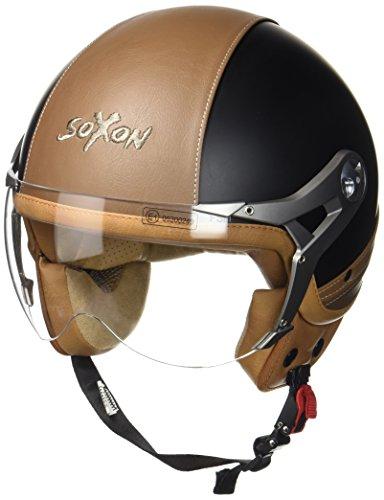 SOXON SP-325-URBAN Black · Retro Biker Helmet Jet-Helm Mofa Chopper Scooter-Helm Bobber Pilot Vespa-Helm Roller-Helm Cruiser Vintage Motorrad-Helm · ECE zertifiziert · Leder Design · mit Visier · inkl. Stofftragetasche · Schwarz · L (59-60cm)