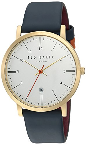 Ted Baker Men's 'SAMUEL' Quartz Stainless Steel and Leather Casual Watch, Color:Silver-Toned (Model: TE15088003)