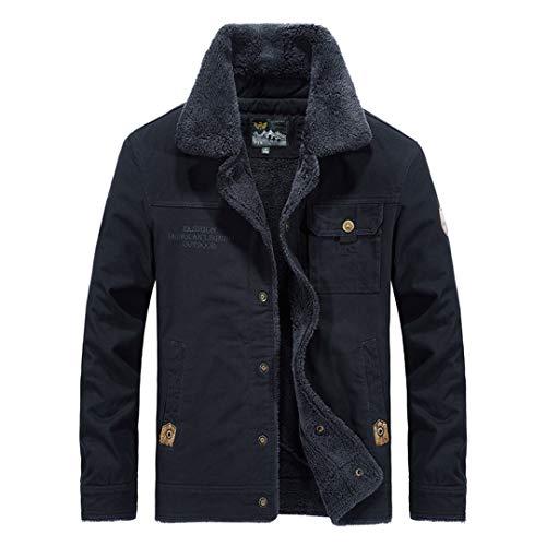 BGFHDLWESR MäNner Herbst Winter Warme Dicke Warme Jacke MäNtel Single Button MäNnlich Einfarbig Outwear Dark Blue 4XL