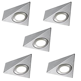 5 X LED MAINS TRIANGLE LIGHT KITCHEN UNDER CABINET UNIT CUPBOARD COOL WHITE