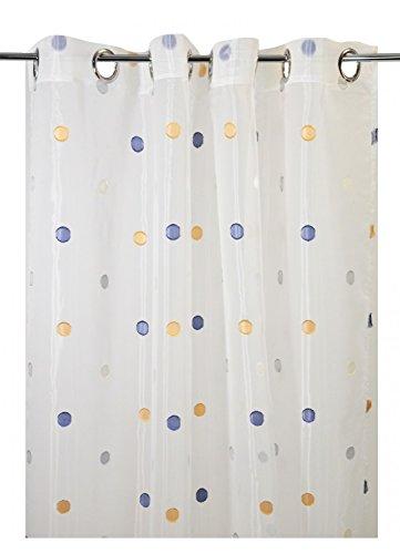 Homemaison–Cortina en Etamine de Lunares Fantaisies, poliéster, Blanco/Gris, 280x 140cm