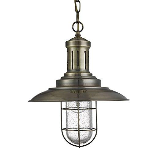 Fischer Einzel Caged Anhänger Antique Brass - Searchlight 5401AB -