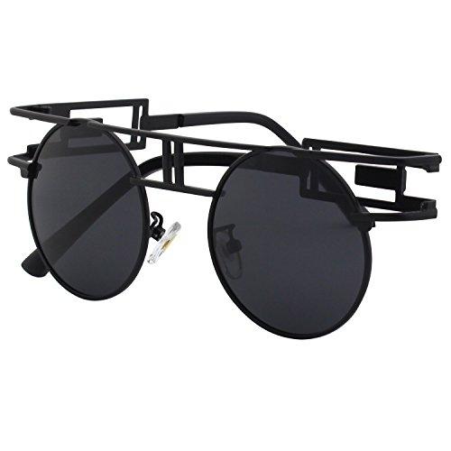 CGID Retro Sonnenbrille im Steampunk Stil, runder Metallrahmen, polarisiert, für Männer, (Rote Sonnenbrille Kostüm)
