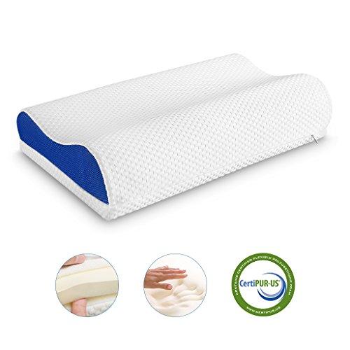 Langria cuscino di schiuma memorabile morbido cuscino fermacorda con fodera in rete traspirante rimovibile con 2 cerniere nascoste per dormire (dimensioni standard, bianco e blu)