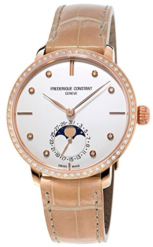 Frederique Constant Manufacture Slimline Moonphase Rose Gold Plated Womens Watch Date FC-703VD3SD4