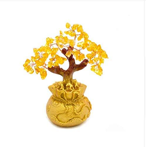MINLIN Mini-Geldbaum, 6,7 cm hoch, Bonsai-Stil, Reichtum Glück Feng Shui, bringt Reichtum Glück und Heimdekoration, Geburtstagsgeschenk (Farbe Polycarbonat-blatt)