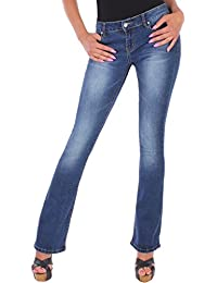 BD Damen Jeans Bootcut Jeanshose in blau mit Waschung