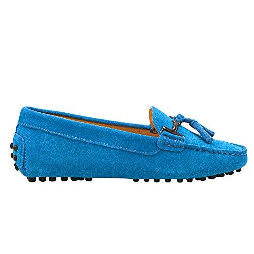 Scarpe D7057 Barca Mocassini Classico Comfort Camoscio City In Blu Donna Mocassini Shenduo Multicolore aqFPppw