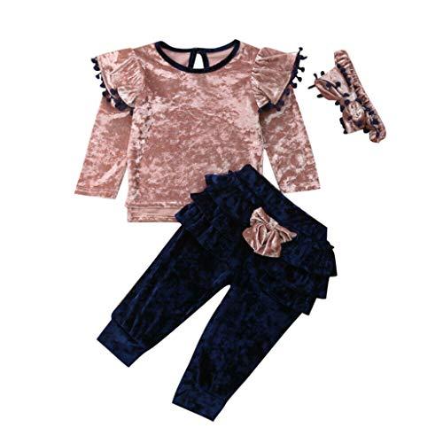 Zegeey Kleinkind Baby MäDchen Langarm Winter Pullover Shirt Tops Hose Mit Stirnband Outfits Geburtstag Geschenk Bekleidungssets Party Festliche(Rosa,80-90)