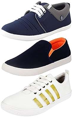 Jabra Men's White -Blue Casual Pack Of 3 Footwear Combo ( Loafers & Sneaker )