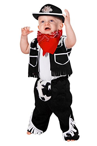 Cowboy Chaps Kostüm - Jannes - Kinder-Kostüm Cowboy mit Chaps und Weste, schwarz weiß, Kleinkinder 92