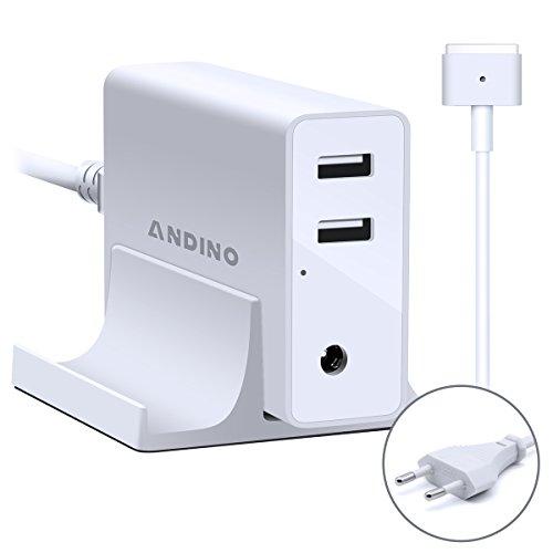 Adaptador de corriente Magsafe 2 Cargador de T- Forma, Andino 60W Adaptador para Ordenador portátil Apple MacBook Pro 13 Pulgada, 2 puertos USB para Tablet PC, Teléfono inteligente