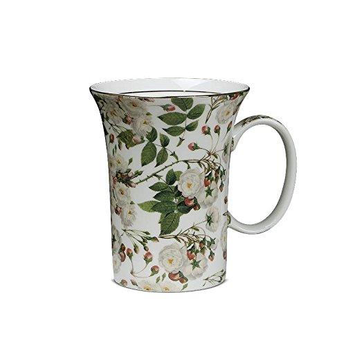 Amoureux mignons Creative Coupe d'Europe en porcelaine céramique Tasse- Green Leaf Fleurs blanches