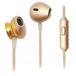 Crisp Style Clear Bass Earpods In-Ear Earphones with Mic Compatible For iBall Andi 5F Infinito -Gold