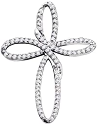 10 K Or blanc diamant pour femme Croix chrétienne religieuse Open-center  Pendentif 1  7995409037d1