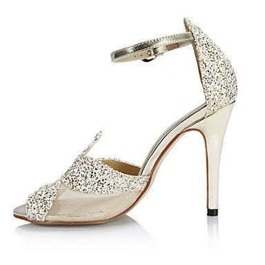LFNLYX Sandales femmes Confort d'été Fête de mariage tulle synthétique & robe de soirée or talon aiguille Gold