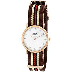 Señoras THINK POSITIVE® Modelo SE W96 Rosè Pulsera De Cristal Reloj Medio Plana De Acero De Cordora Color Marrón, Arena, Rojo