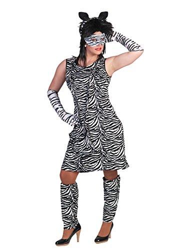 Kostüm Kleid Zebra Zaara Größe 40/42 Damen Zebramuster Tierkostüm Safari Wilde Tiere Afrika Zoo Karneval Fasching (Safari Kostüm Themen)