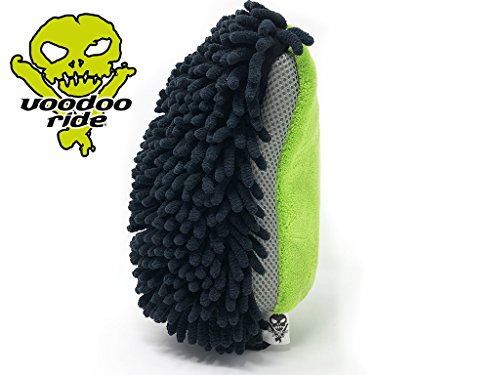 voodoo ride X-tra Giant Triple Action 3 in 1 Waschhandschuh fürs Auto mit 3 Seiten und Funktionen Premium Mikrofaser für die kratzerfreie, schonende Autowäsche
