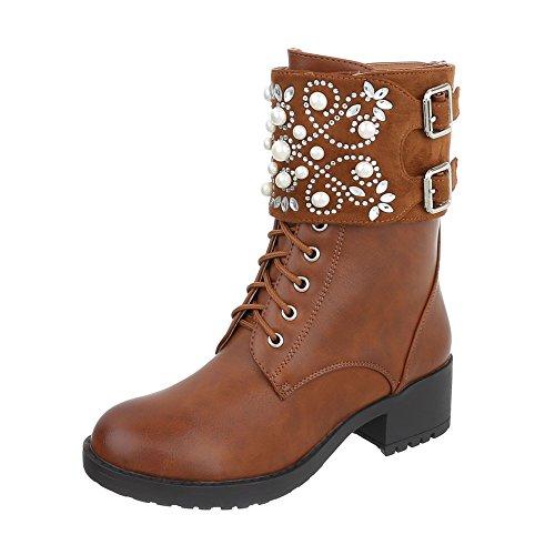 Stivaletti Allacciati Scarpe Da Donna Classic Boots Tacco A Spillo Lace-up Stivaletti Ital-design Cammello