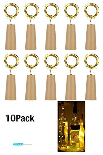10 Stück 20LED 2M Flaschen-Licht Warmweiß,Flaschenlichter Lichterketten Nacht Licht Weinflasche...