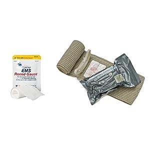EMS Rolled Quickclot Gauze & 6: Emergency Care Bandage, Trauma Dressing