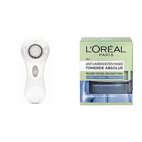Clarisonic Elektrische Gesichtsreinigungsbürste Mia 2 White, 1 Stück + L'Oréal Paris Tonerde Absolue Anti-Unreinheiten Gesichtsmaske mit Meeresalgen-Extrakt, 2er Pack (2 x 50 ml)